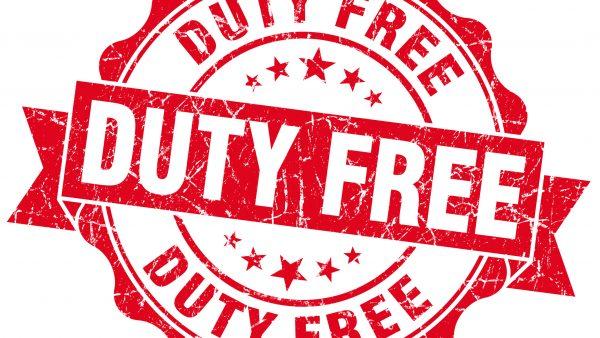 duty free red grunge stamp